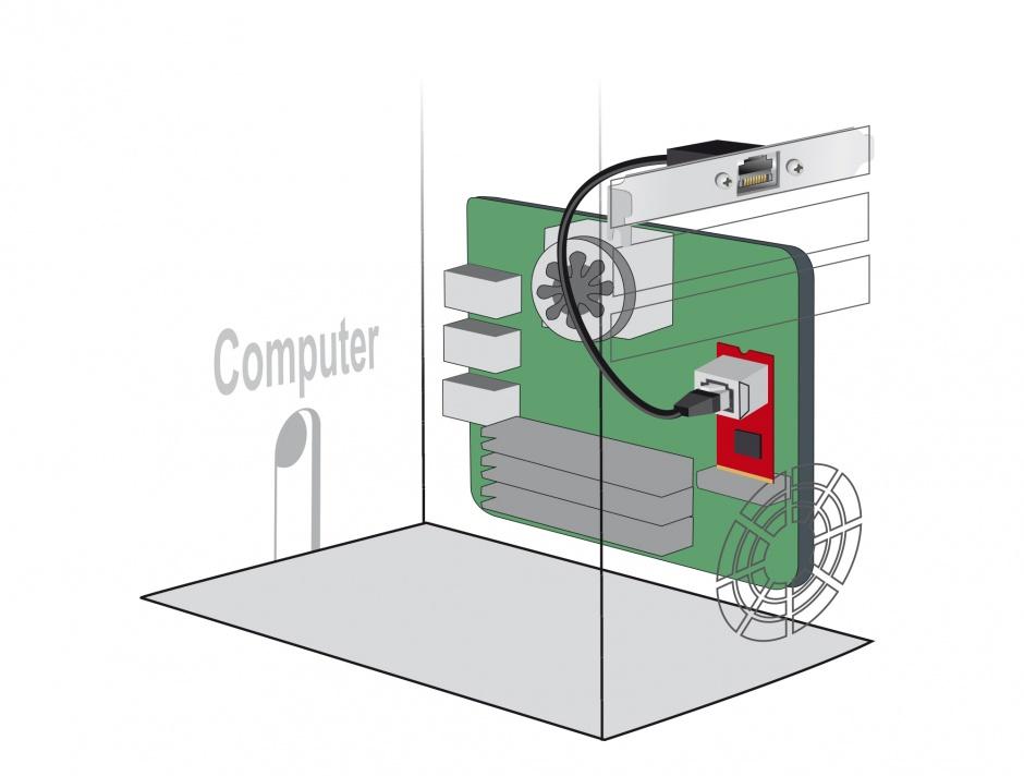 Imagine Cablu prelungitor de retea RJ45 Cat.5e 30cm cu bracket Standard/Low Profile, Delock 85803