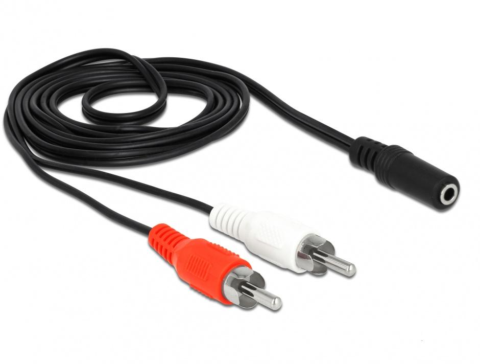 Imagine Cablu 2 x RCA la jack stereo 3 pini 3.5mm T-M 1.4m, Delock 85808