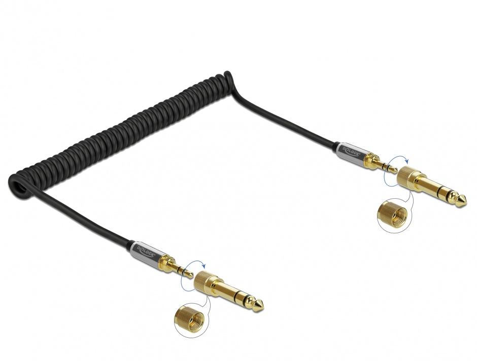 Imagine Cablu spiralat jack stereo 3.5mm 3 pini T-T + adaptor 6.35mm 2m, Delock 85837