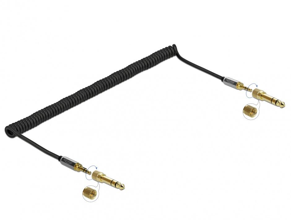 Imagine Cablu spiralat jack stereo 3.5mm 3 pini T-T + adaptor 6.35mm 3m, Delock 85838