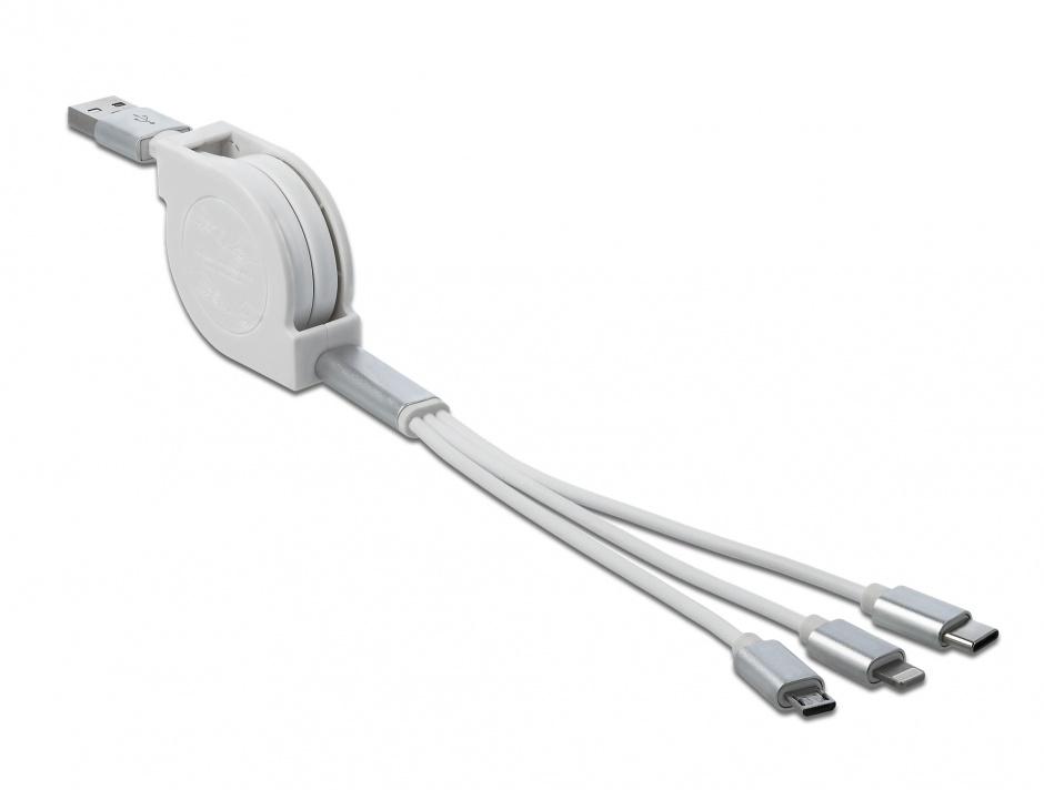 Imagine Cablu USB 3 in 1 de incarcare retractabil iPhone Lightning / USB-C / micro USB-B Alb, Delock 85850