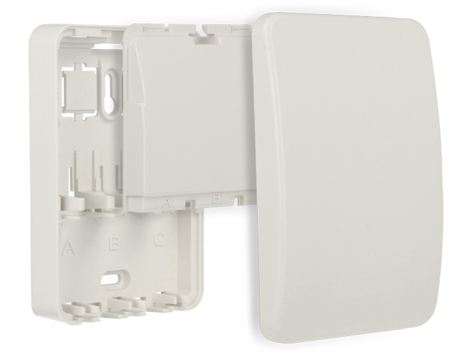 Imagine Carcasa cu protectie pentru perete 3 porturi Keystone Alb, Delock 86262