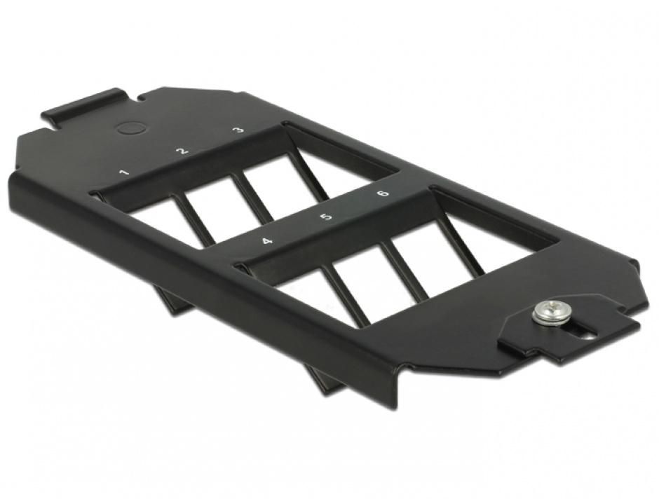 Imagine Carcasa pentru montare podea 6 porturi Keystone Negru, Delock 86280