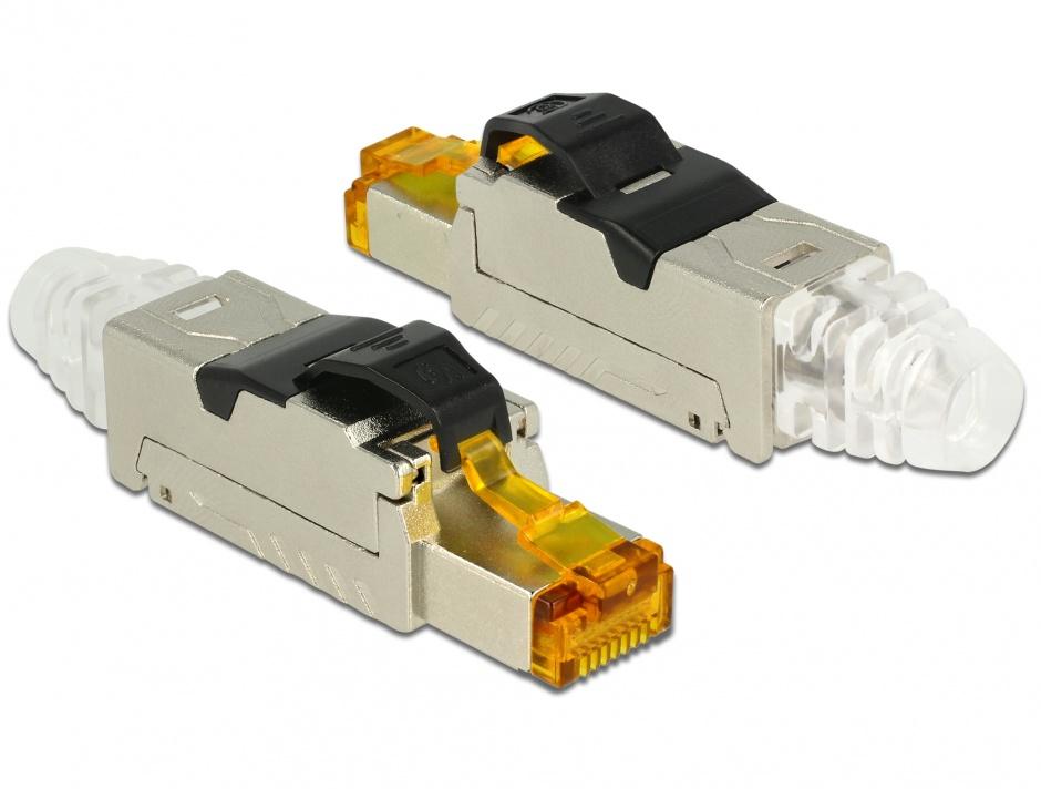 Imagine Conector de ansamblat RJ45 cat 6A metal, Delock 86285