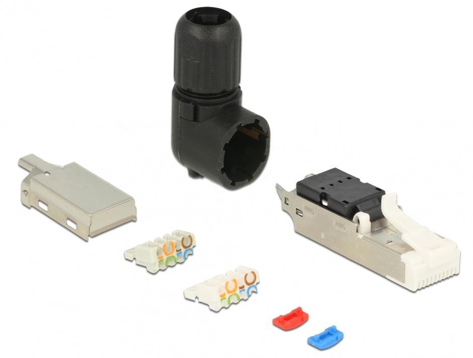 Imagine Conector de ansamblat RJ45 cat 6A pentru fir solid unghi, Delock 86295