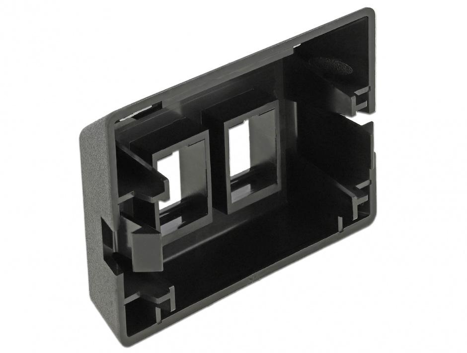Imagine Priza cu 2 porturi Keystone pentru instalare mobila Negru, Delock 86296
