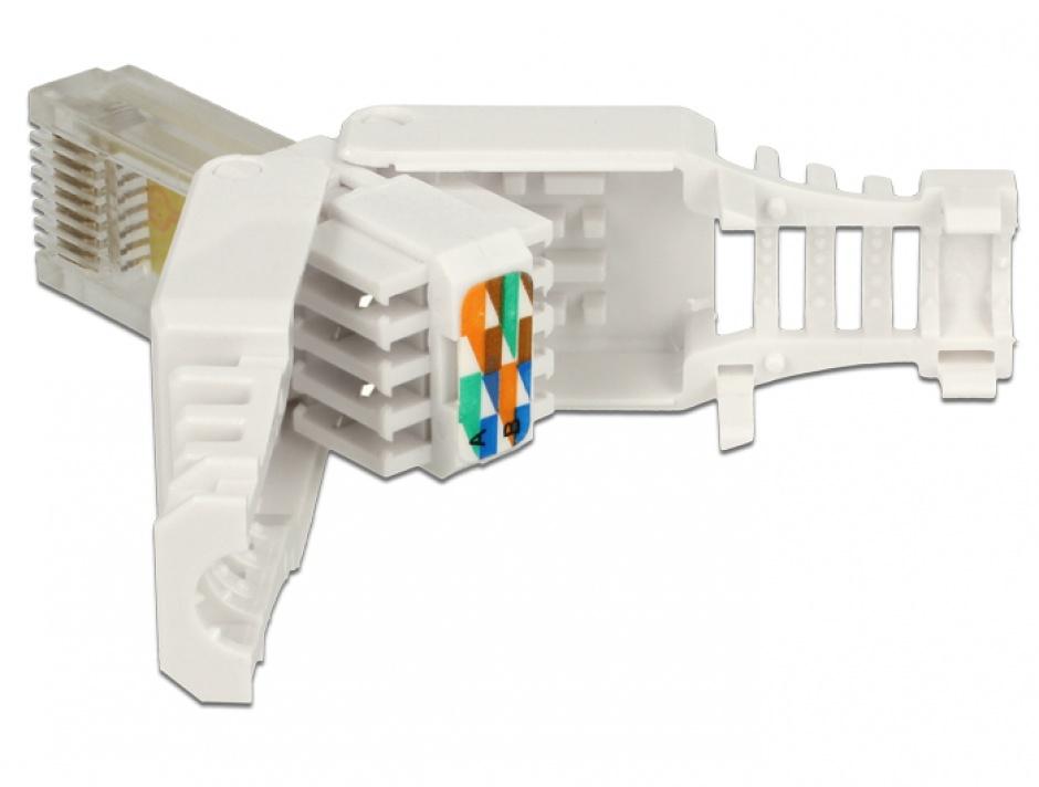 Imagine Set 2 bucati conector RJ45 Cat.5e pentru fir solid UTP toolfree, Delock 86415