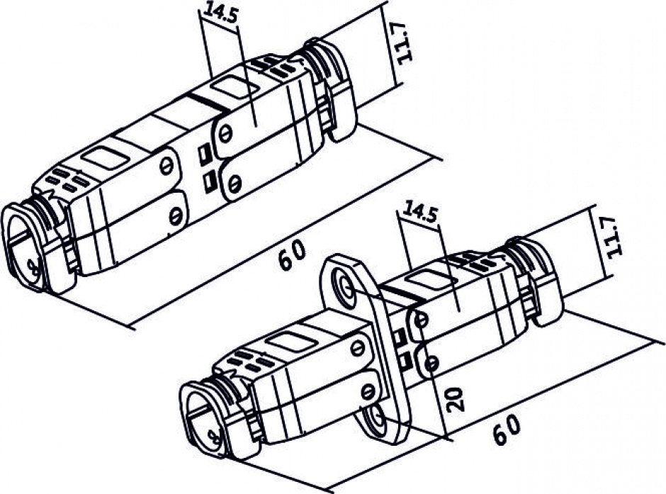Imagine Cupla pentru fir solid cat 6A STP M-M toolfree, Delock 86467