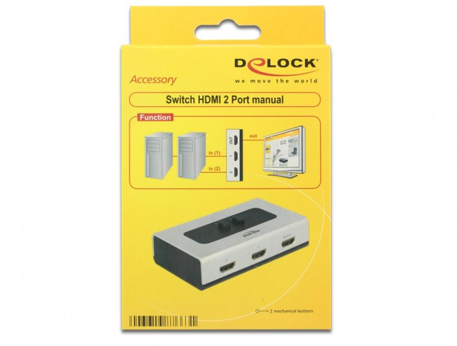Imagine Switch HDMI 2 porturi, Delock 87663