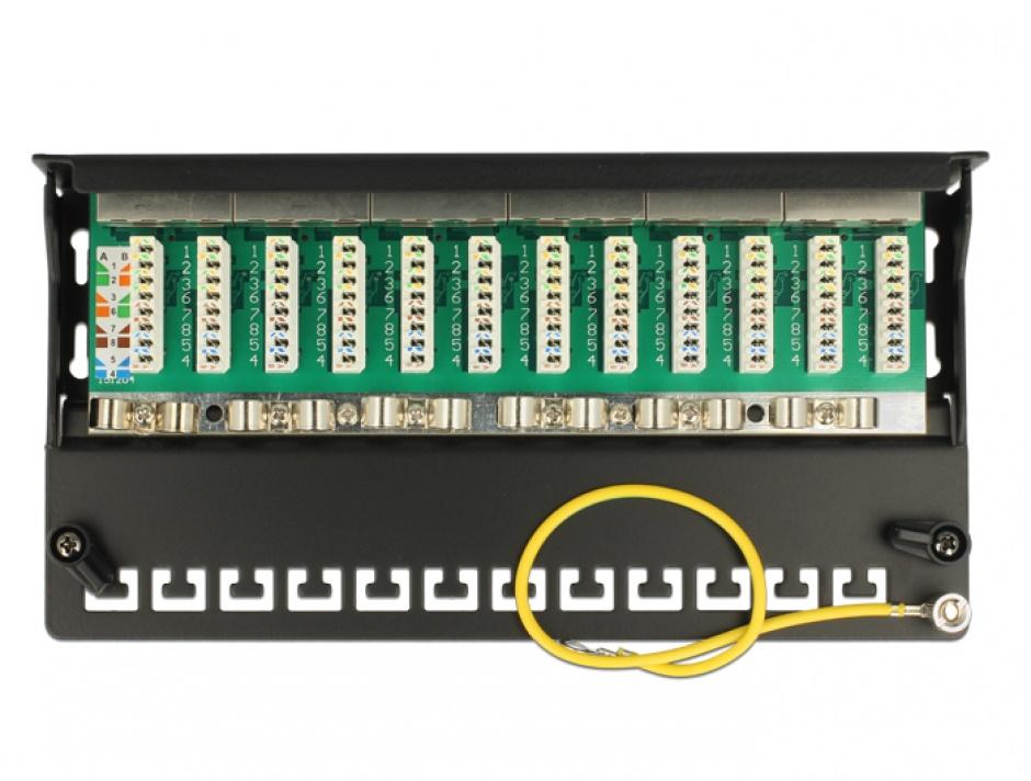 Imagine Patch Panel 12 porturi Cat.6A gri, Delock 87675
