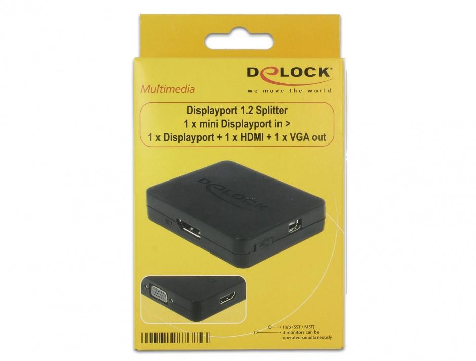 Imagine Multiplicator mini Displayport la 1 x Displayport + 1 x HDMI + 1 x VGA, Delock 87685