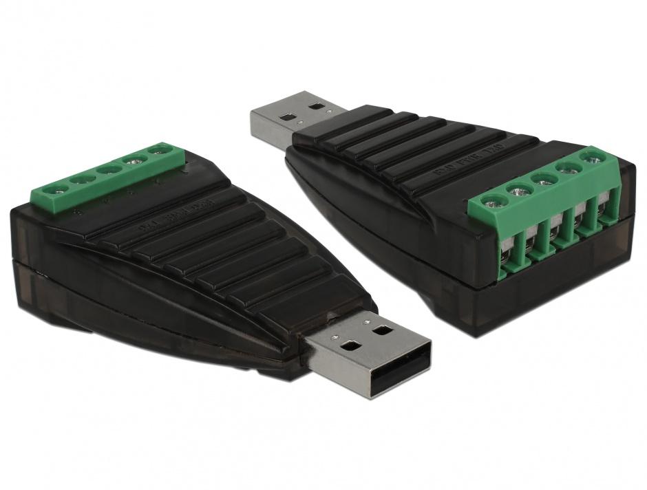 Imagine Adaptor USB la Serial RS-422/485 terminal block cu surge protection 600 W isolation 2.5 kV extended, Delock 87738