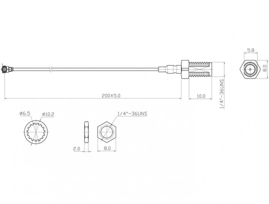 Imagine Conector pentru montarea antenei WLAN RP-SMA jack bulkhead la MHF I plug 1.13 20cm, Delock 88420