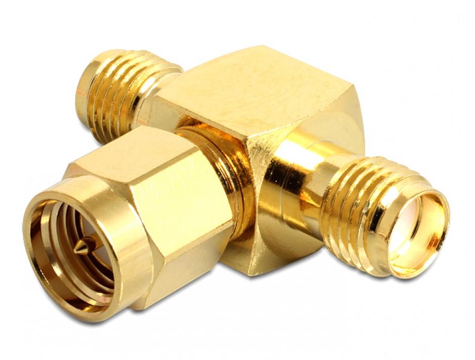 Imagine Adaptor in T SMA jack la SMA plug + SMA jack, Delock 88711