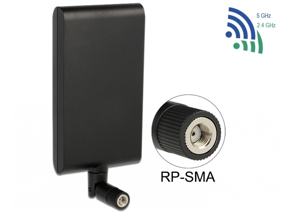 Imagine Antena WLAN 802.11 ac/a/h/b/g/n RP-SMA 7,5 ~ 10 dBi Directional With Flexible Joint, Delock 88904