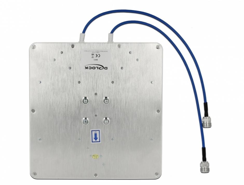 Imagine Antena LTE (Lora) MIMO 2 x N jack 8 dBi directional cu RG-402 37cm, Delock 88931