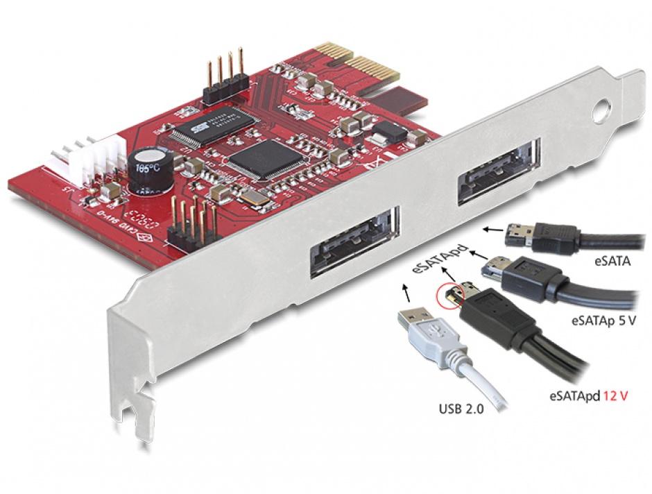 Imagine PCI Express 2 x Power Over eSATA 5V-12V, Delock 89233