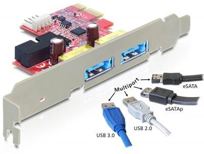 Imagine Placa PCI Express la 2 x USB 3.0 + eSATAp, Delock 89288