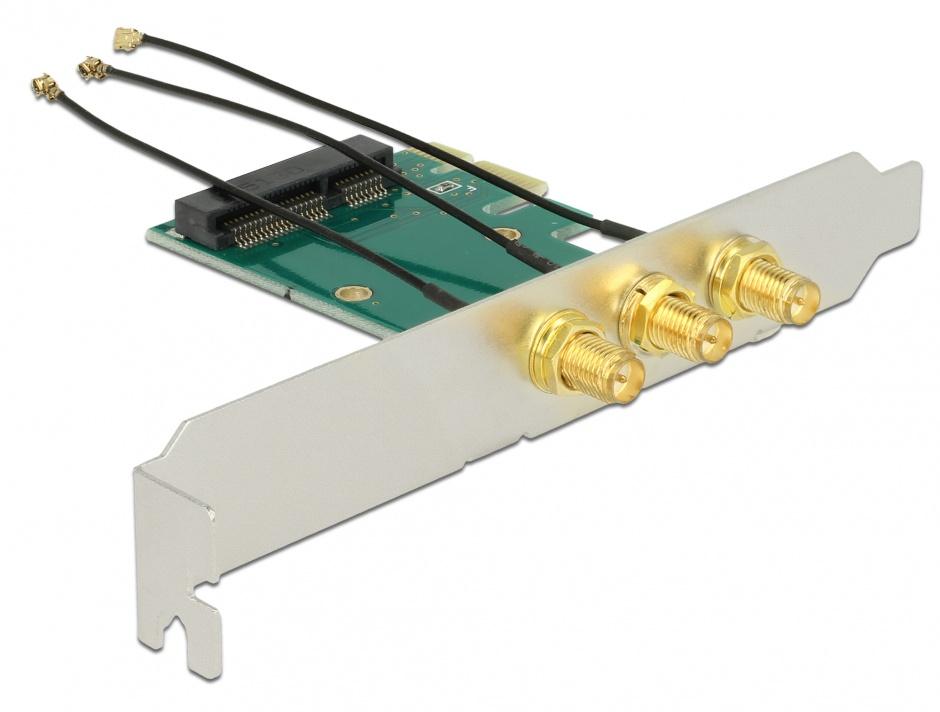 Imagine PCI Express la Mini PCI Express si 3 X RP-SMA, Delock 89294