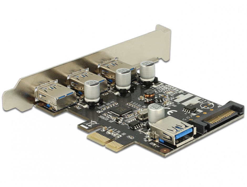 Imagine Placa PCI Express la 3 porturi externe + 1 port intern USB 3.0, Delock 89301