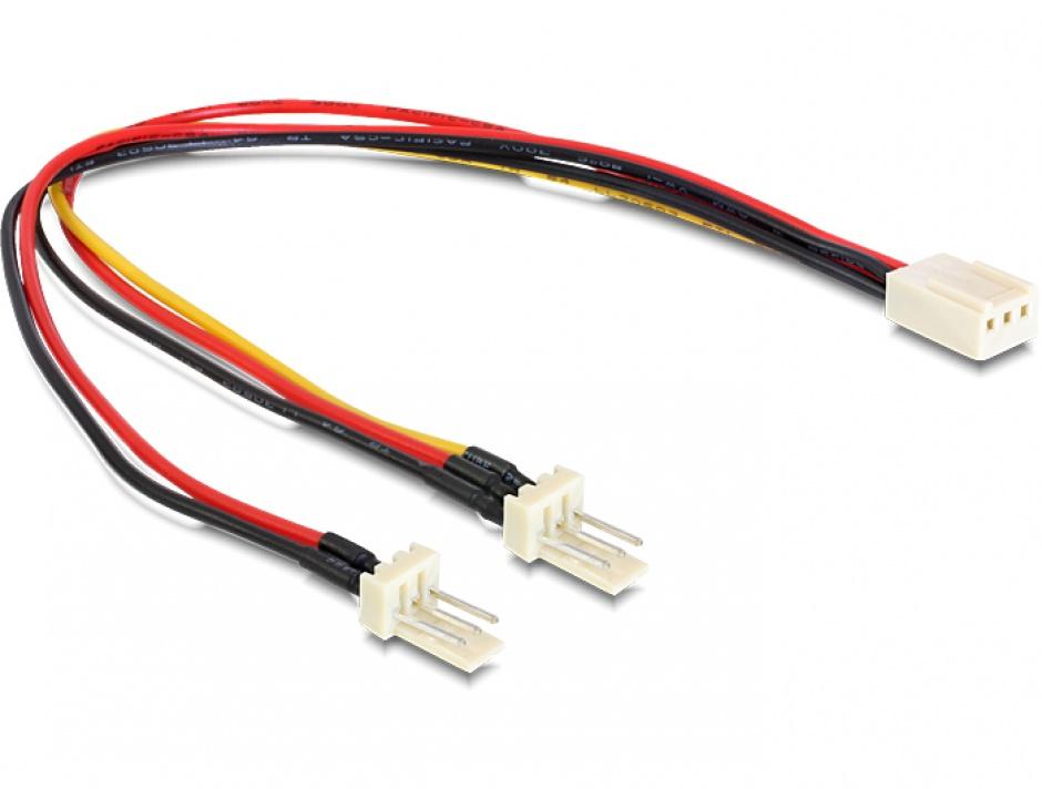 Imagine Cablu alimentare 3 pini la 2 x 3 pini M-T (fan) 22cm, Delock 89343