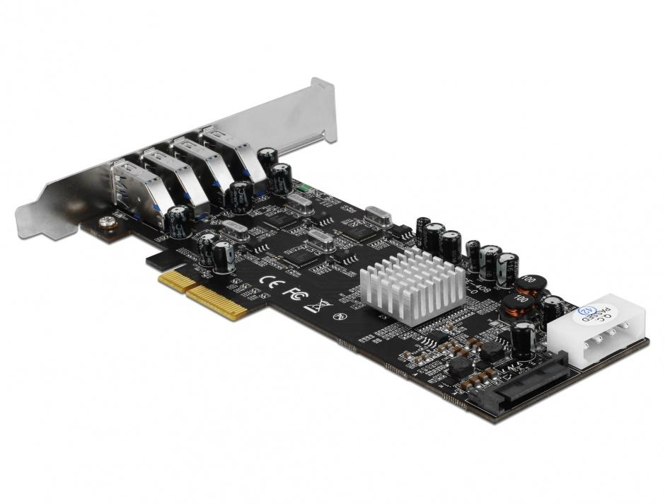 Imagine PCI Express Card cu 4 x USB 3.0 externe Quad Channel, Delock 89365