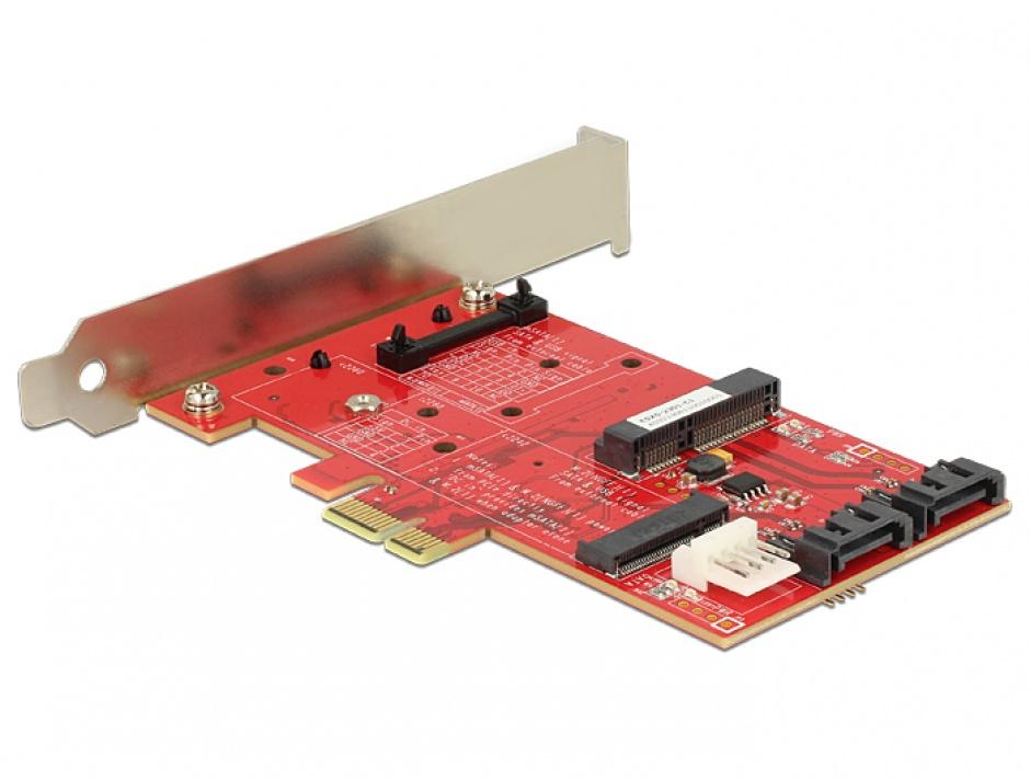 Imagine PCI Express cu 1 x M.2 NGFF, 1 x mSATA, 1 x Mini PCIe, Delock 89380