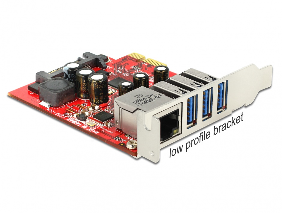 Imagine PCI Express cu 3 x USB 3.0 + 1 x Gigabit LAN externe, Delock 89382