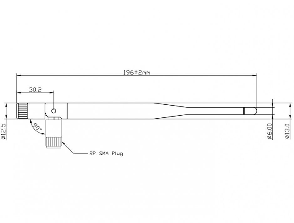 Imagine WLAN Antenna 802.11 ac/a/b/g/n SMA 5 dBi omnidirectional joint black, Delock 89438