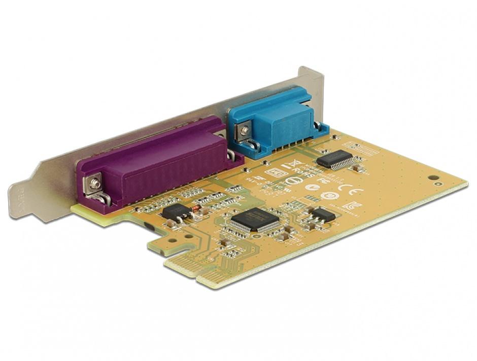 Imagine PCI Express cu 1 port serial RS232 + 1 x paralel DB25, Delock 89446