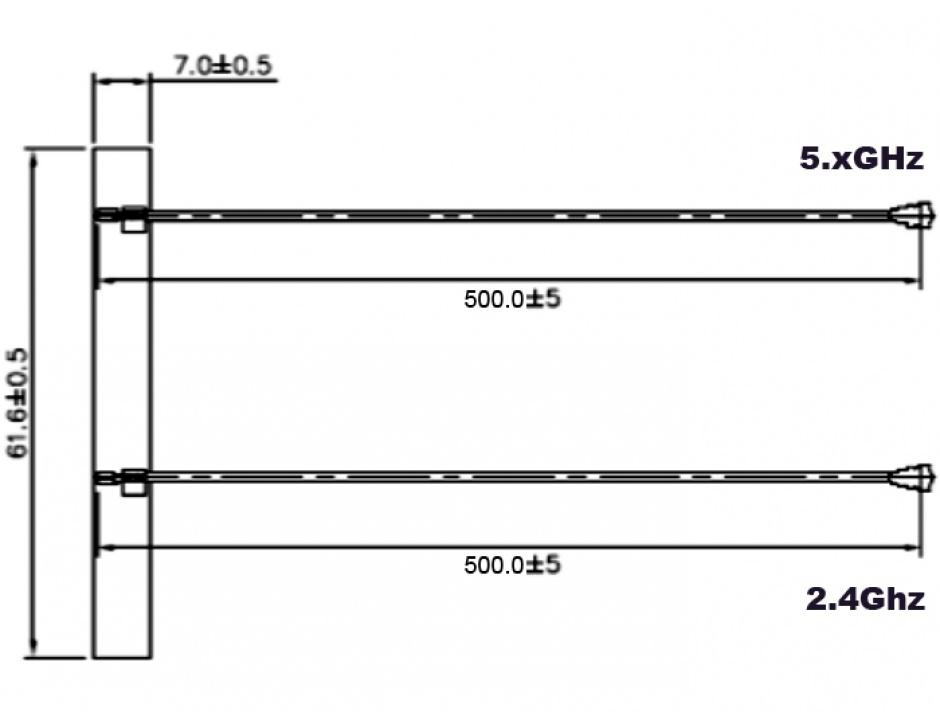 Imagine Antena WLAN 802.11 ac/a/h/b/g/n 2 x MHF plug 5 dBi 500 mm PCB internal self adhesive, Delock 89457