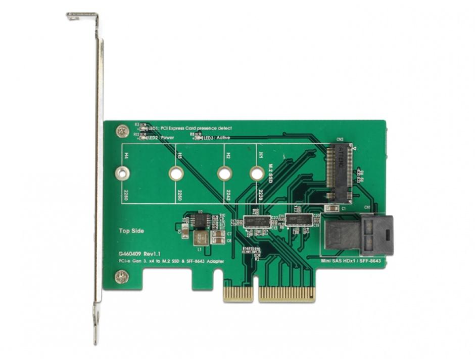 Imagine PCI Express Card la 1 x internal NVMe M.2 PCIe / 1 x internal SFF-8643 NVMe Low Profile Form Factor,