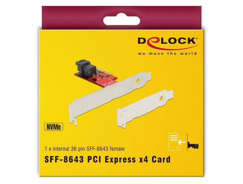 Imagine PCI Express cu 1 port SFF-8643 NVMe LPFF, Delock 89535