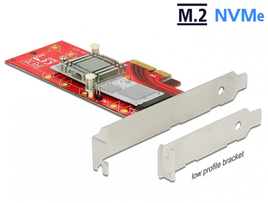 Imagine PCI Express la 1 x NVMe M.2 Key M 110 mm cu radiator, Delock 89577
