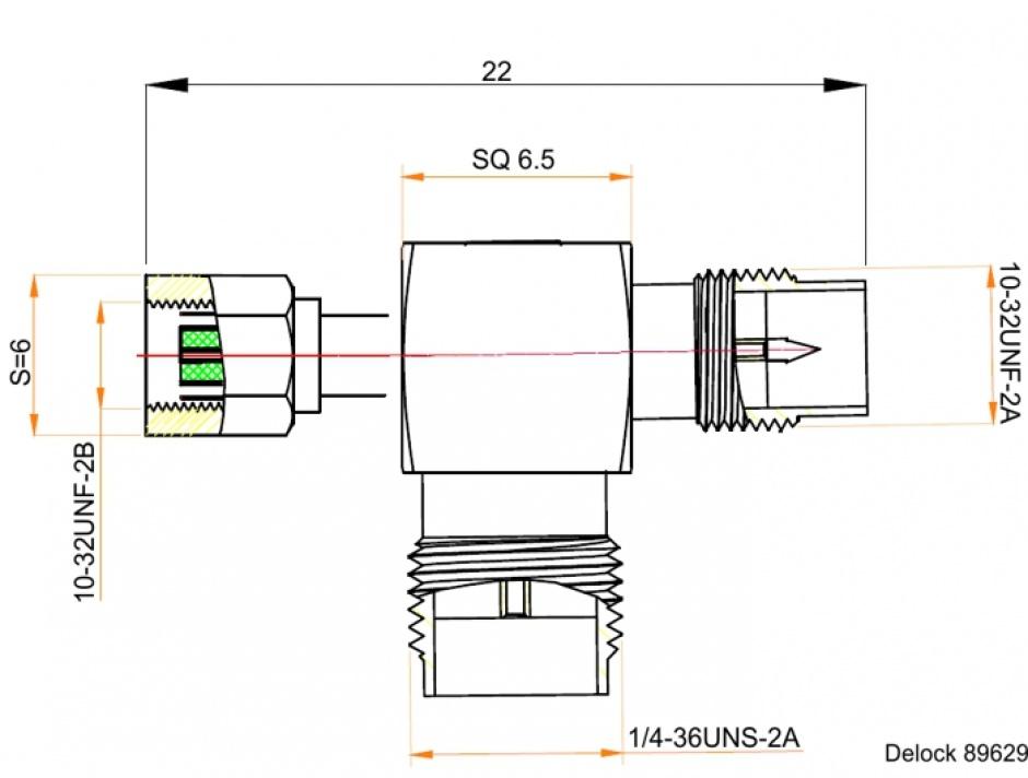 Imagine Adaptor forma T SMC jack la SMC plug la SMA jack, Delock 89629