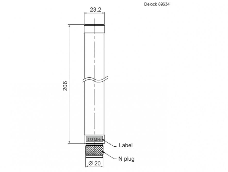 Imagine Antena fixa 433 MHz N plug 1.32 dBi omnidirectionala pentru exterior, Delock 89634