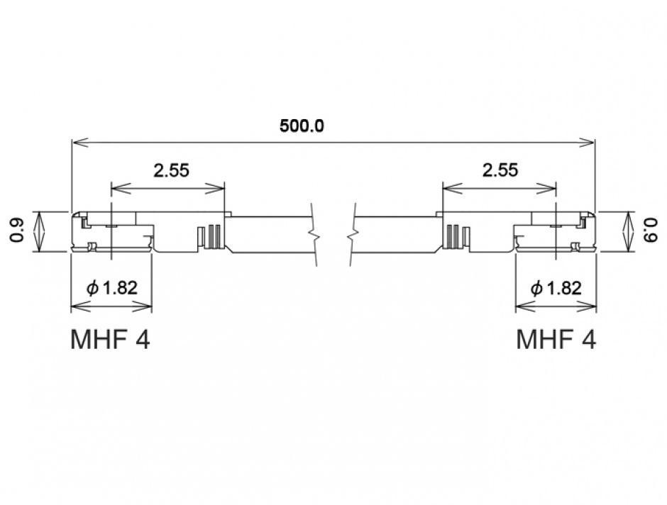 Imagine Cablu antena MHF IV/HSC MXHP32 plug la MHF IV/HSC MXHP32 plug 50cm 1.13, Delock 89646
