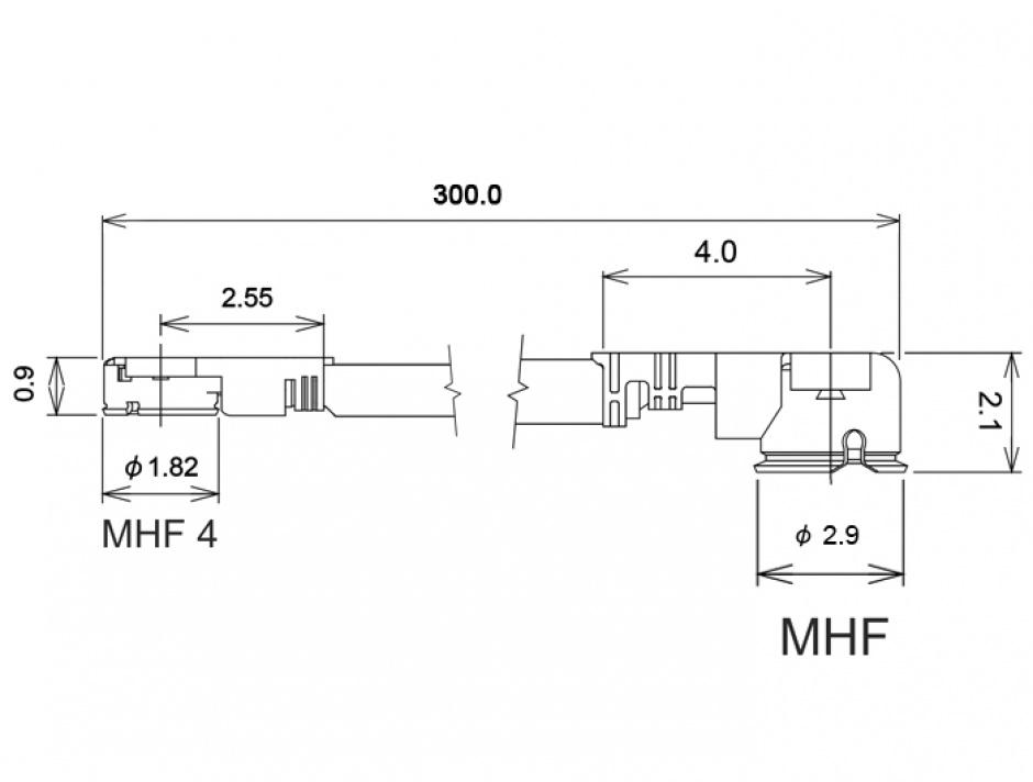 Imagine Cablu antena MHF / U.FL-LP-068 plug la MHF IV/ HSC MXHP32 plug 30cm 1.13, Delock 89649