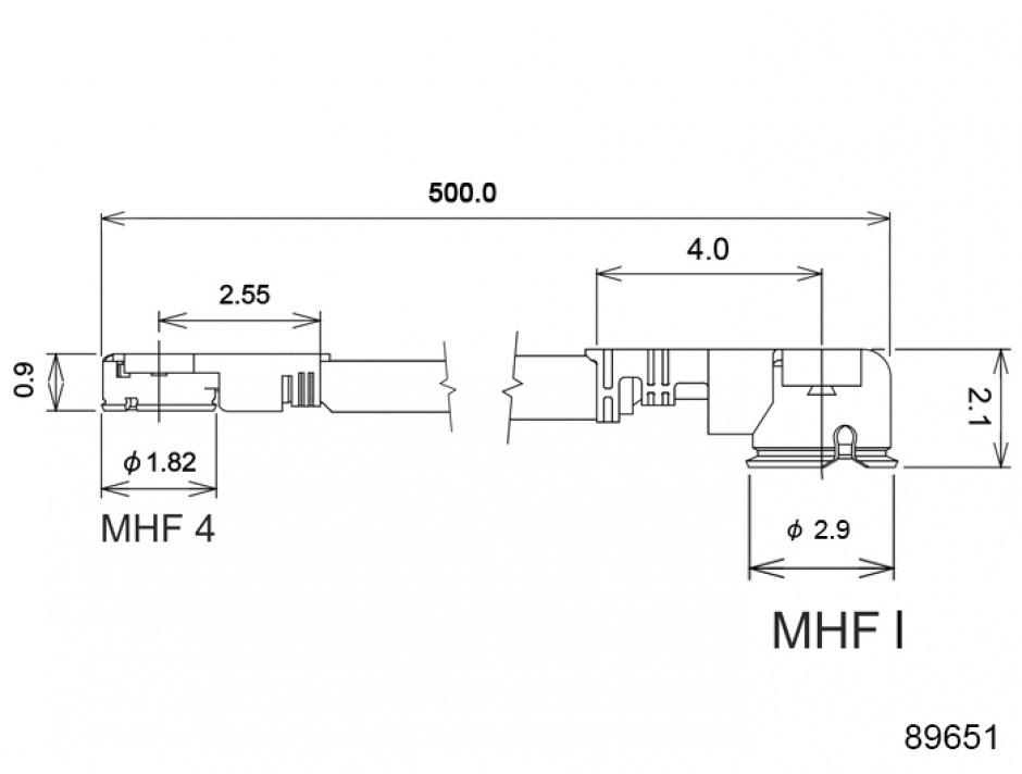 Imagine Cablu antena MHF / U.FL-LP-068 plug la MHF IV/ HSC MXHP32 plug 50cm 1.13, Delock 89651