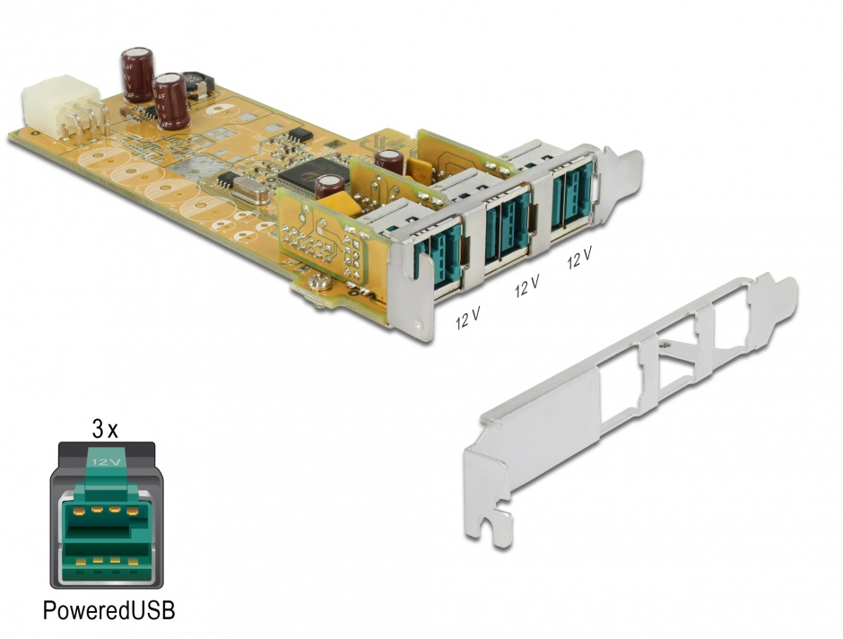 Imagine PCI Express PoweredUSB la 3 x USB 12V, Delock 89656
