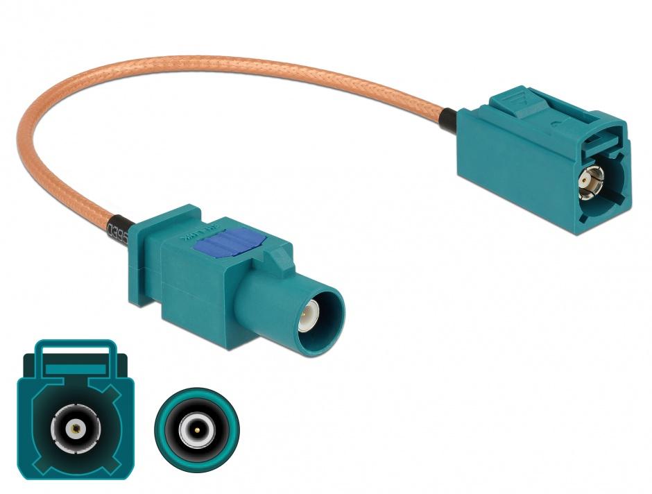 Imagine Cablu antena FAKRA Z plug la FAKRA Z jack RG-316 20cm, Delock 89660