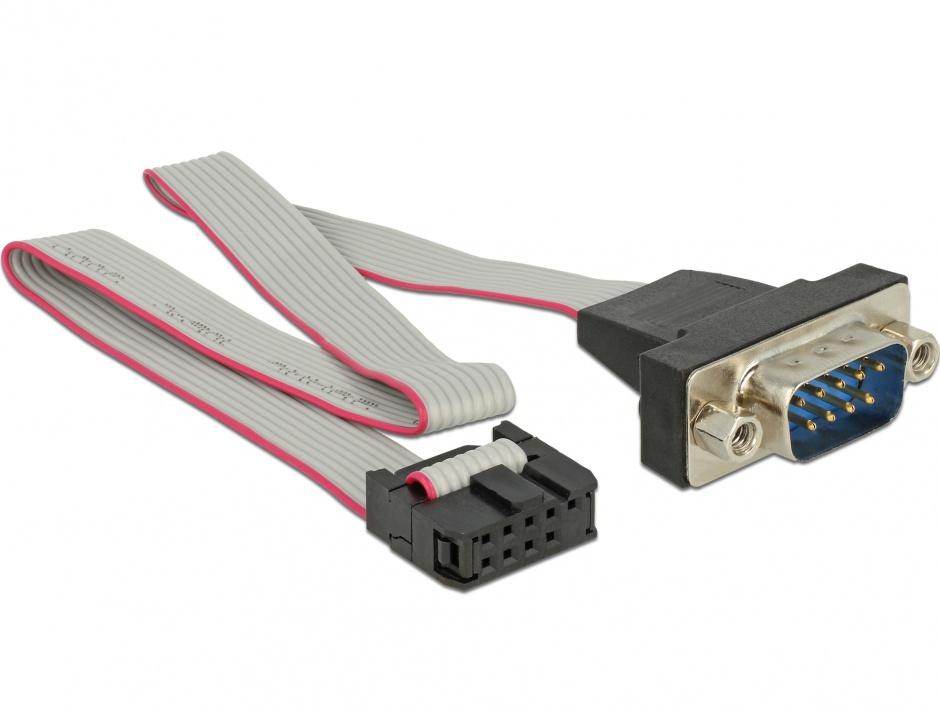 Imagine Cablu serial RS-232 pin header la DB9 tata 1:1 0.25m, Delock 89900