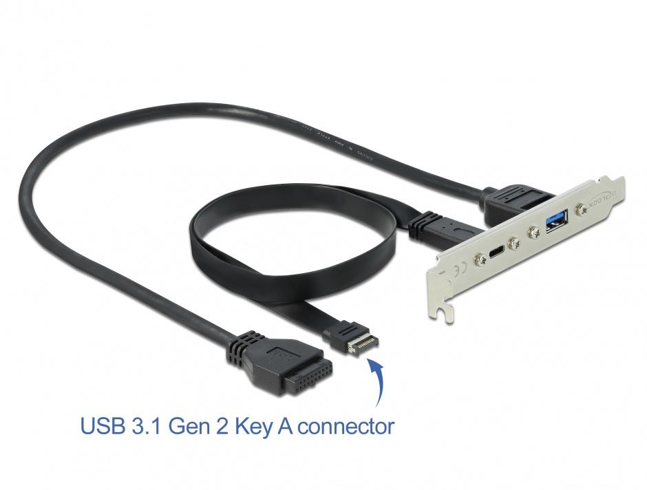 Imagine Bracket cu 1 x USB-C 20V/3A si 1 x USB-A 5V/0.9A, Delock 89934
