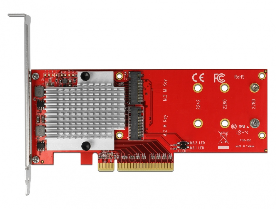 Imagine PCI Express cu 2 porturi interne NVMe M.2 Key M LPFF, Delock 90305