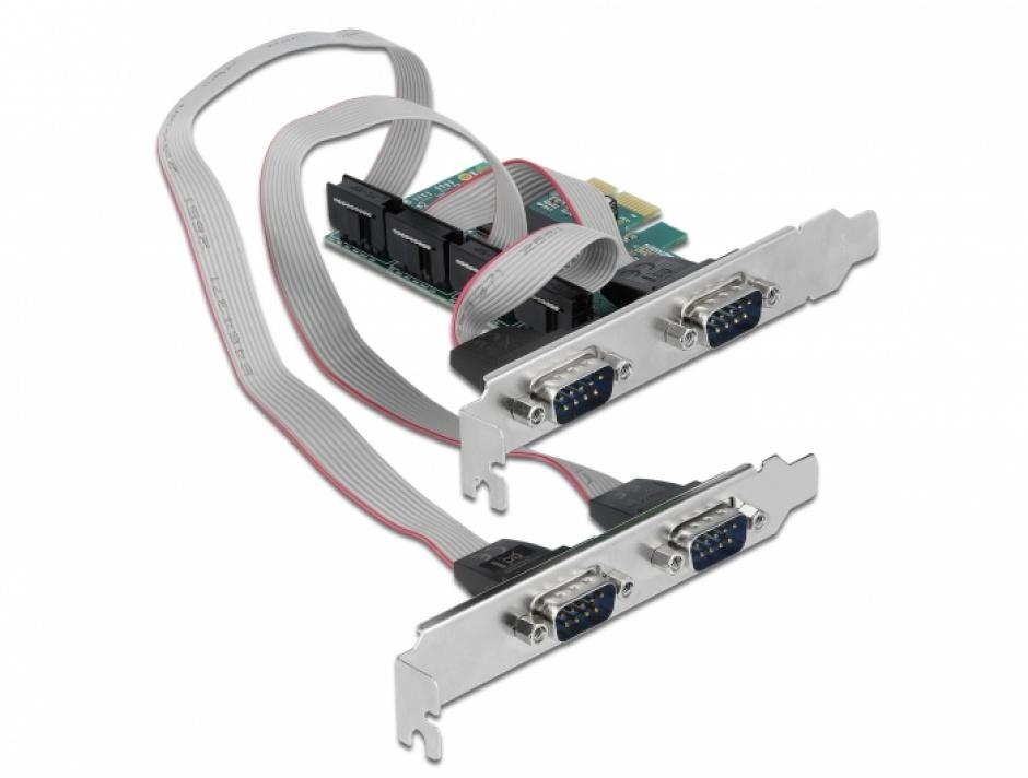 Imagine PCI Express cu 4 x Serial RS-232, Delock 90410
