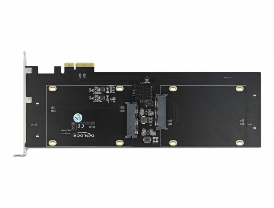 Imagine PCI Express x2 Card cu 4 x HDD/SSD SATA 22 pini (date + alimentare) RAID, Delock 90433