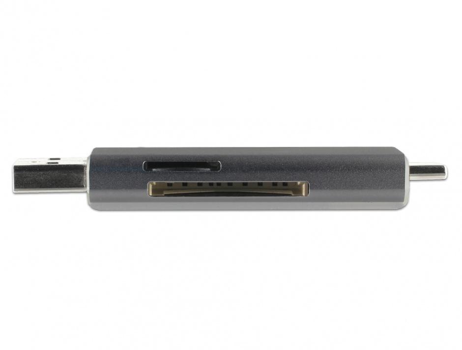 Imagine Cititor de carduri USB 3.1-C/A la SD / MMC + Micro SD, Delock 91499