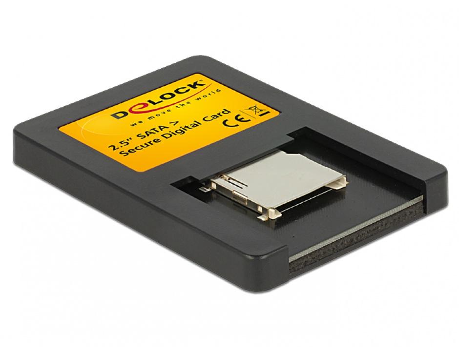 Imagine Card reader interfata 2.5 Drive SATA la Secure Digital Card, Delock 91673