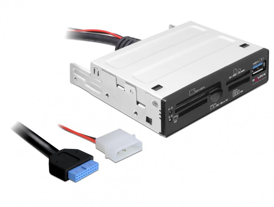 """Imagine Card reader USB 3.0 63 in 1 pentru bay 3.5"""", Delock 91725"""