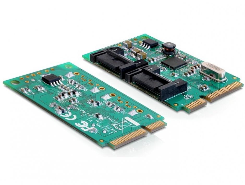 Imagine MiniPCIe I/O PCIe full size 2 x SATA 6 Gb/s, Delock 95225